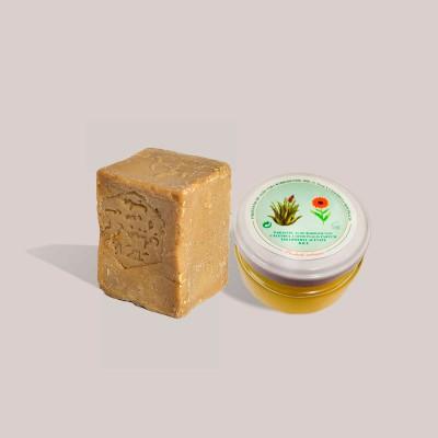 Pack pieles sensibles: Jabón Alepo 40% Laurel - 60% Oliva y Crema Artesana de Aloe Vera, Caléndula y Manteca de Karité. 120ml
