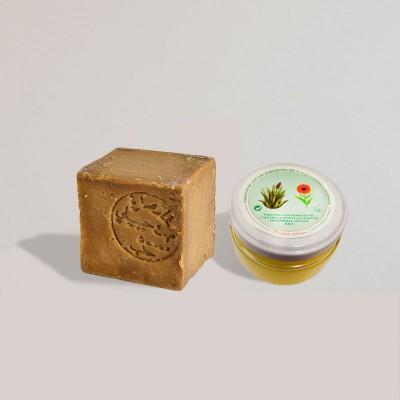 Pack pieles sensibles: Jabón Alepo 25% Laurel - 75% Oliva y Crema Artesana de Aloe Vera, Caléndula y Manteca de Karité. 120ml