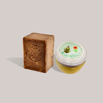 Pack pieles sensibles: Jabón Alepo 55% Laurel - 45% Oliva y Crema Artesana de Aloe Vera, Caléndula y Manteca de Karité. 120ml